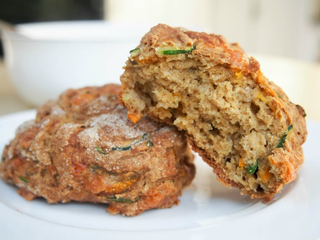 Carrot, zucchini and cheddar soda bread rolls