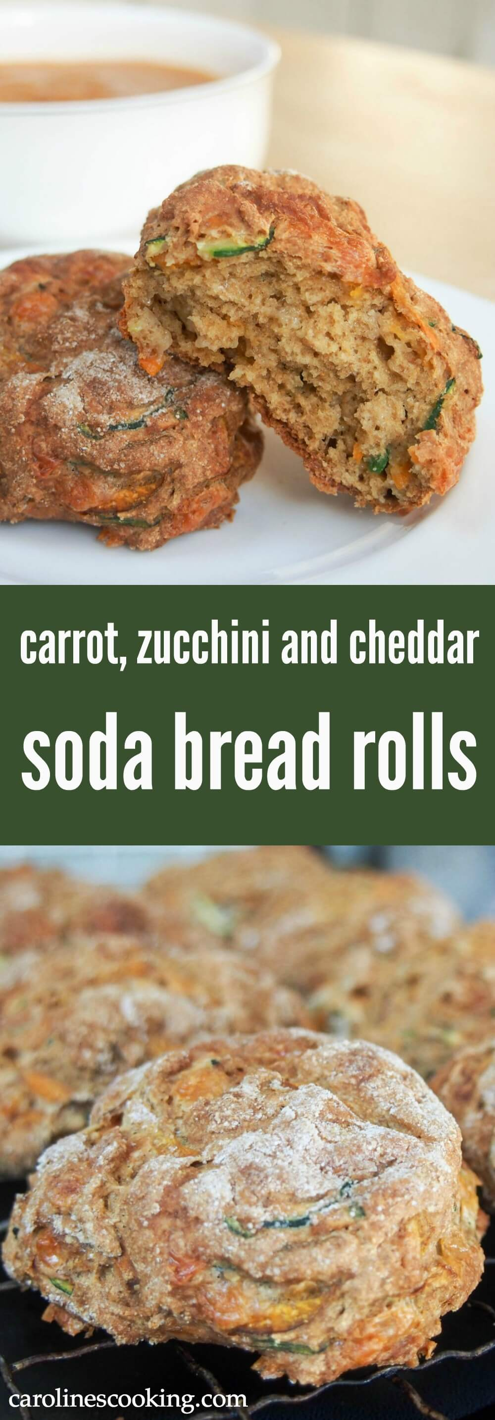 These tasty soda bread rolls are quick to make and made with carrot, zucchini and cheddar to add texture, flavor and generally be a bit better for you.