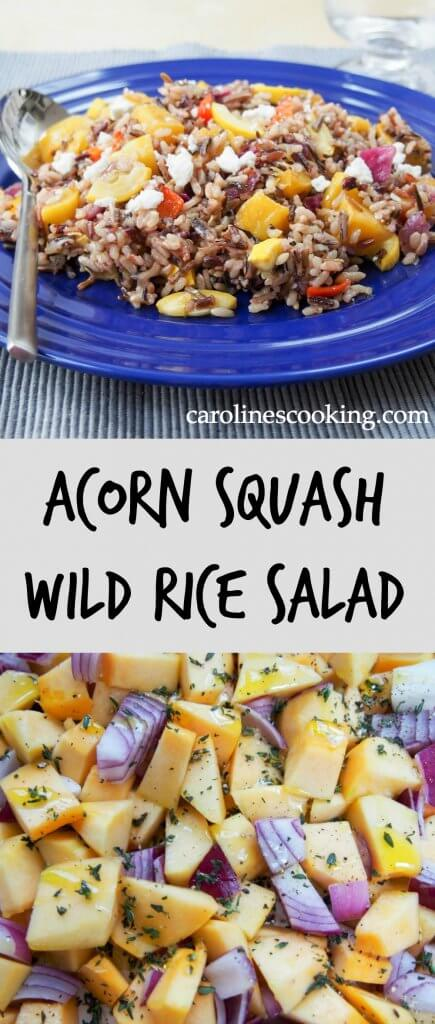 acorn squash wild rice salad - a delicious vegetarian dish (easily made vegan) made with squash, wild rice and a citrus dressing that makes a great main or side. An excellent addition to any holiday meal, it's great cold for lunch too. via @carolinescookng