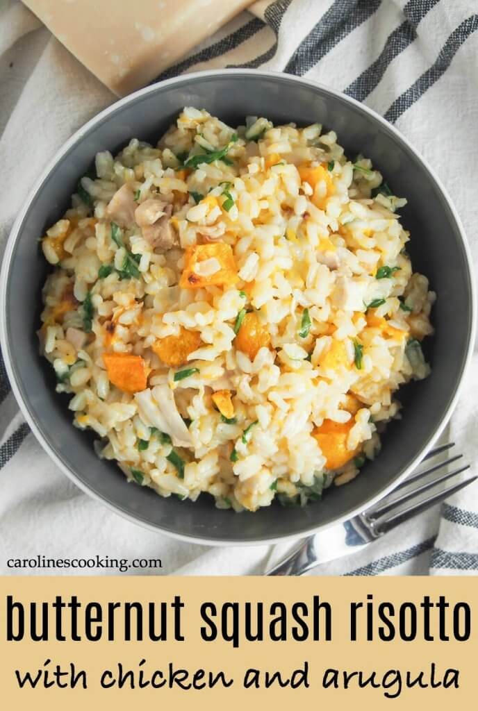 This butternut squash risotto with chicken and arugula is a deliciously comforting meal that's also a great way to use up leftover chicken (and/or squash). Yum! #butternutsquash #risotto #leftoverchicken #thanksgivingleftovers
