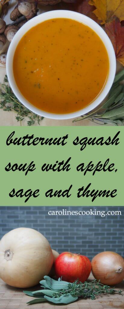Butternut squash soup with apple, sage and thyme - easy to make, a delicious, comforting bowl of deliciousness. Perfect for lunch on a cold day, or as an appetizer for a holiday and more.