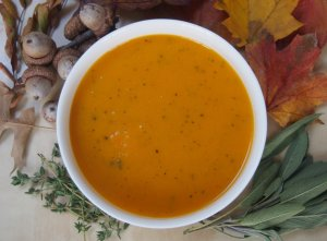 This butternut squash soup has the sweetness of the squash balanced out by a savory note from sage and thyme. A warming bowl of fall flavors.