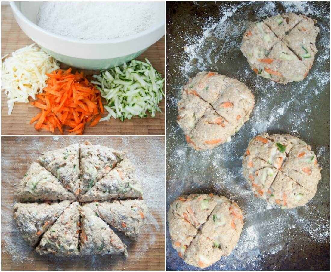 making carrot, zucchini and cheddar soda bread rolls