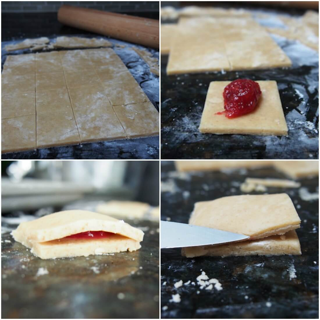 making cranberry jam filled shortbread cookies