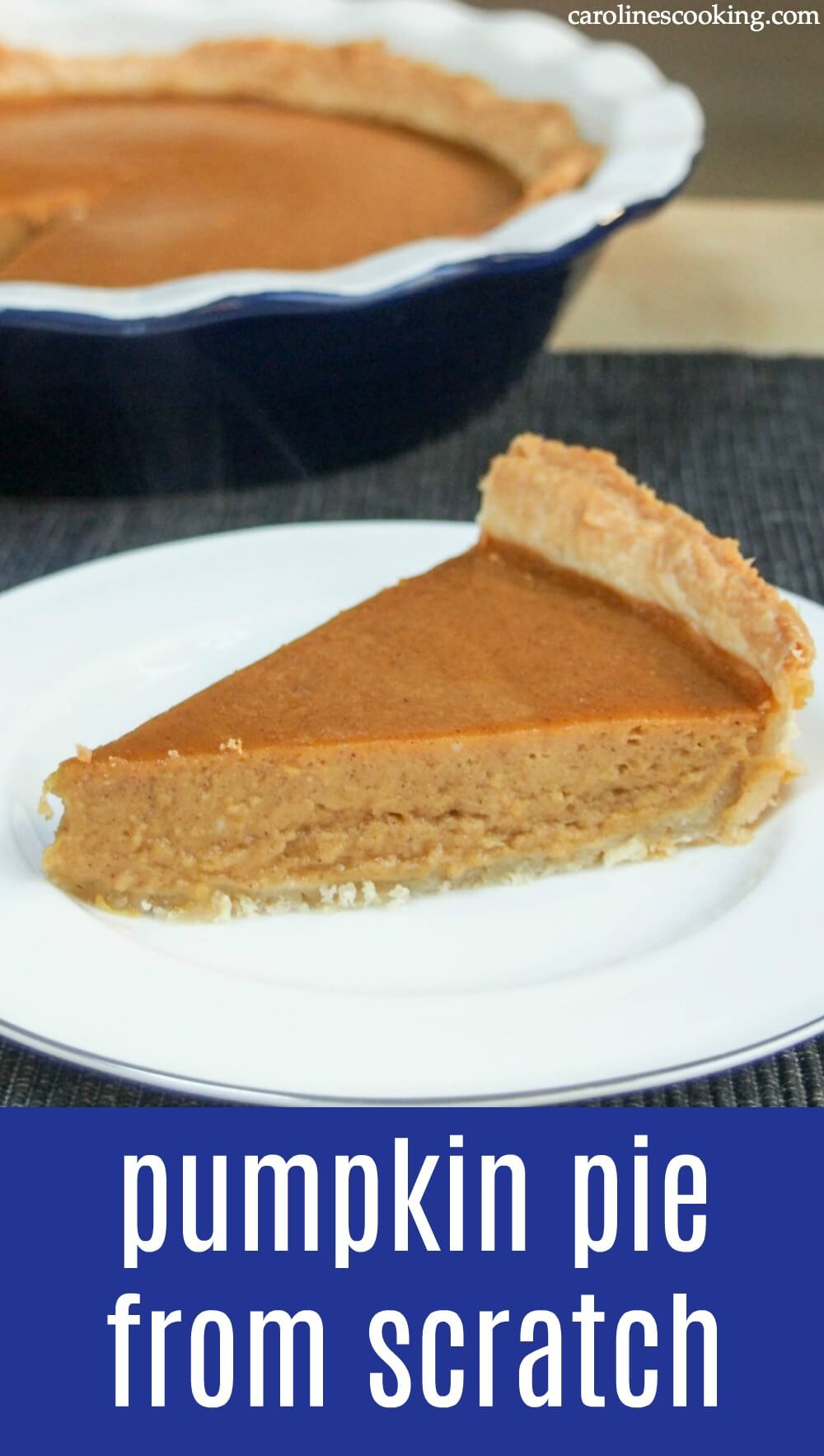 A classic pumpkin pie from scratch is easier than you might think! Get all the tips you need for our family favorite - with a wonderfully smooth texture, it's flavorful & warmly spiced. The perfect Thanksgiving dessert or treat for any time throughout fall. #pumpkin #pie #pumpkinpie #piefromscratch