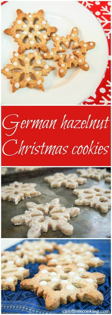 These German hazelnut Christmas cookies are easy to make & look and taste great, with a delicious flavoring from the hazelnut. Complex flavors, easy to make.
