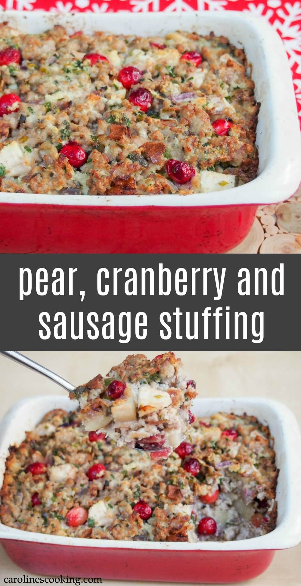 This pear, cranberry and sausage stuffing combines a great variety of seasonal flavors into a tasty side to a festive meal. Or make it the main event alongside some roasted vegetables.