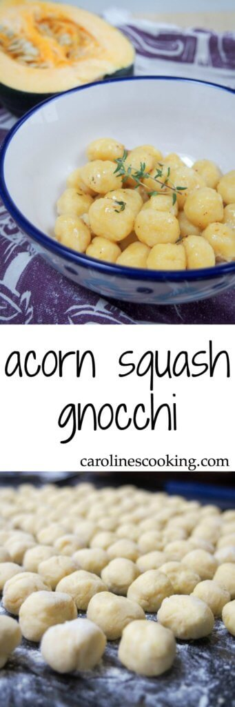 Gnocchi are perfect comfort food and these acorn squash gnocchi are some of the best: deliciously savory, light, pillowy & flavorful. A great taste of fall. #homemadegnocchi #squashgnocchi #acornsquash
