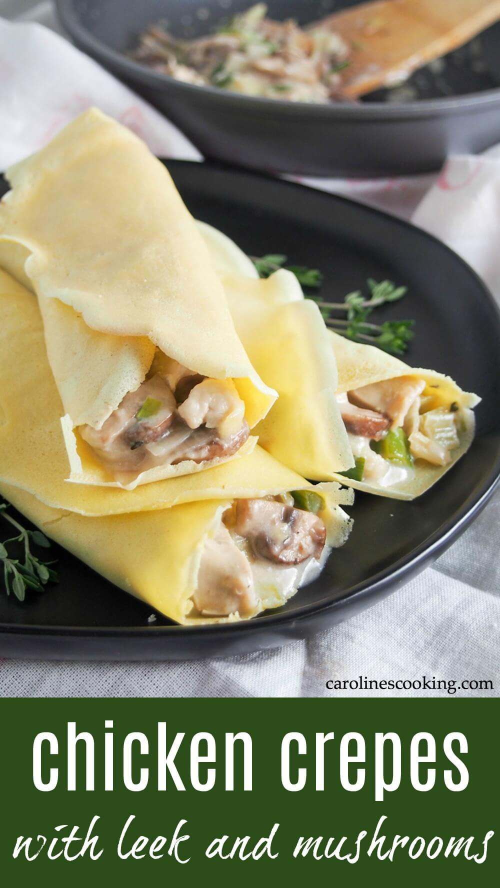 These turkey or chicken crepes with leek and mushrooms are a great way to use leftover meat in a tasty comforting dish. They're great to make with Thanksgiving leftovers, or if you have a roast chicken to repurpose in a very different meal. You could also use the sauce for other dishes like as a filling for baked potatoes, or over rice. Creamy, cheesy and easy to make, too! #leftovers #turkey #chicken #thanksgiving #christmas