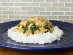 Fragrant chicken curry with chard, coconut and cashew