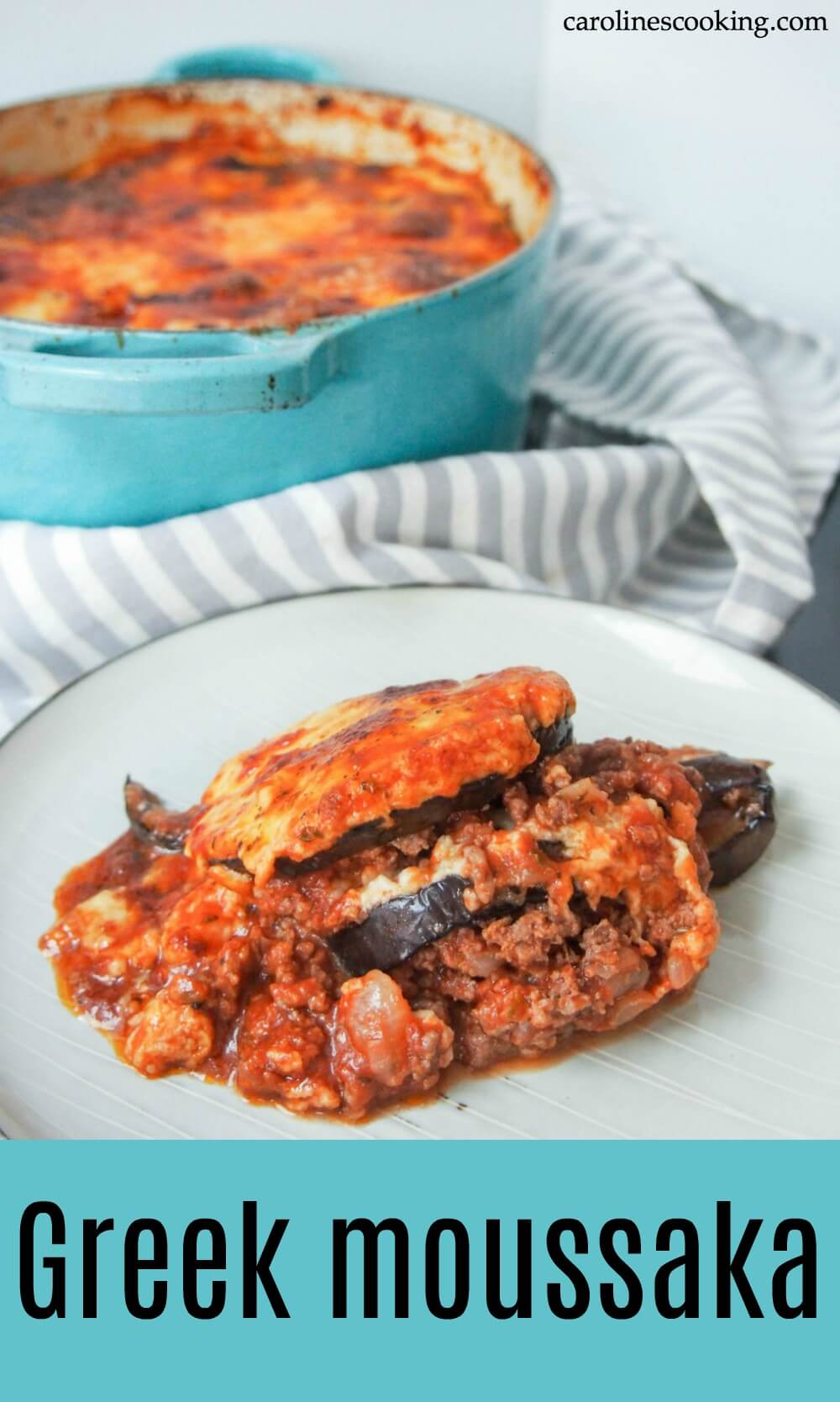 Based on the traditional Greek dish, this tasty moussaka is comfort food at it's best - a tasty lamb and tomato base, eggplant and cheesy sauce. Truly delicious. #Greek #comfortfood #lamb #eggplant