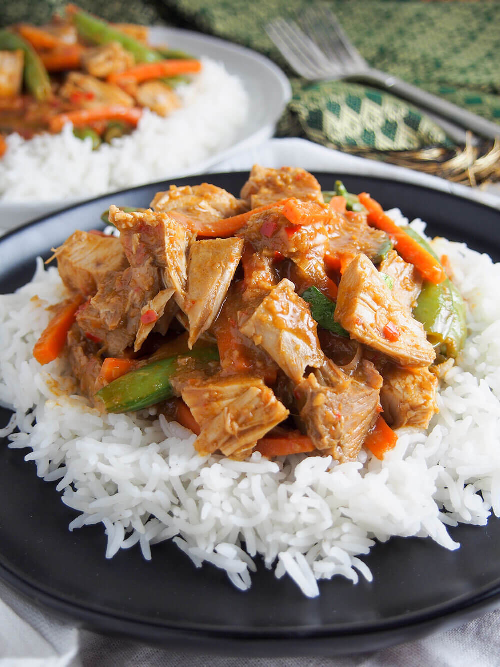 Thai red curry using leftovers close up