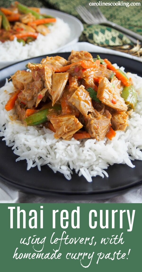 This delicious Thai red curry is made with a quick homemade paste from scratch for a fantastic bold flavor. Plus it's a great way to use leftover meat. Not that you have to use either leftovers or homemade paste -the recipe walks you through using fresh meat too, but the homemade paste is definitely highly recommended! #Thairedcurry #redcurrypaste #takeoutfakeout