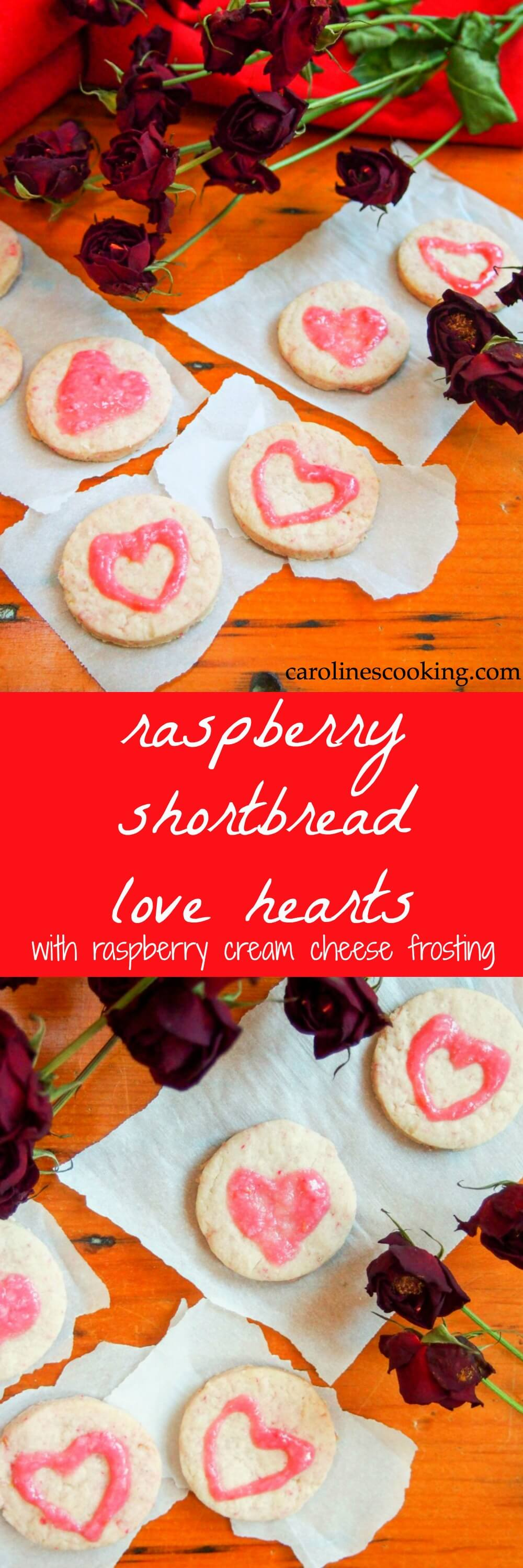 raspberry shortbread love hearts with raspberry cream cheese frosting - a deliciously buttery, raspberry-flavored cookie perfect for Valentine's day, or any excuse they're that good. Naturally colored, they'll win your heart.
