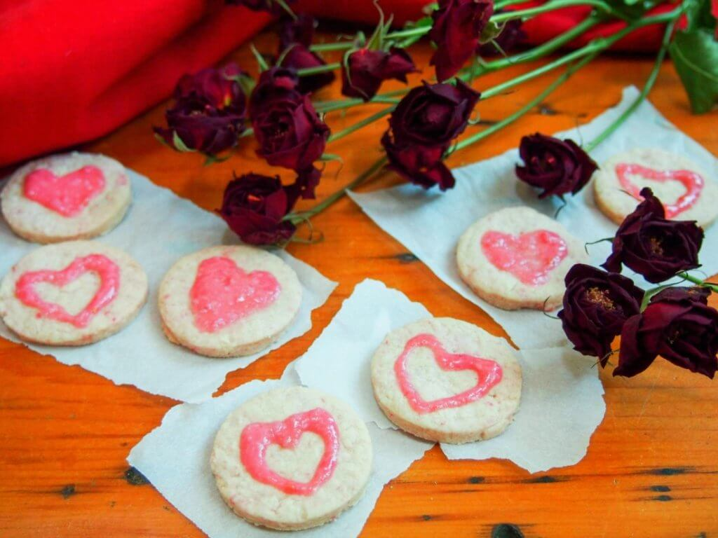 Raspberry shortbread 'love hearts' with raspberry cream cheese frosting