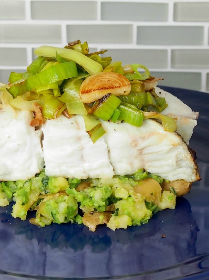 Halibut served with pea-basil smashed potatoes and fried leeks is like a restaurant meal at home. Lots of complimentary flavors, fresh, delicious but also easy to make.