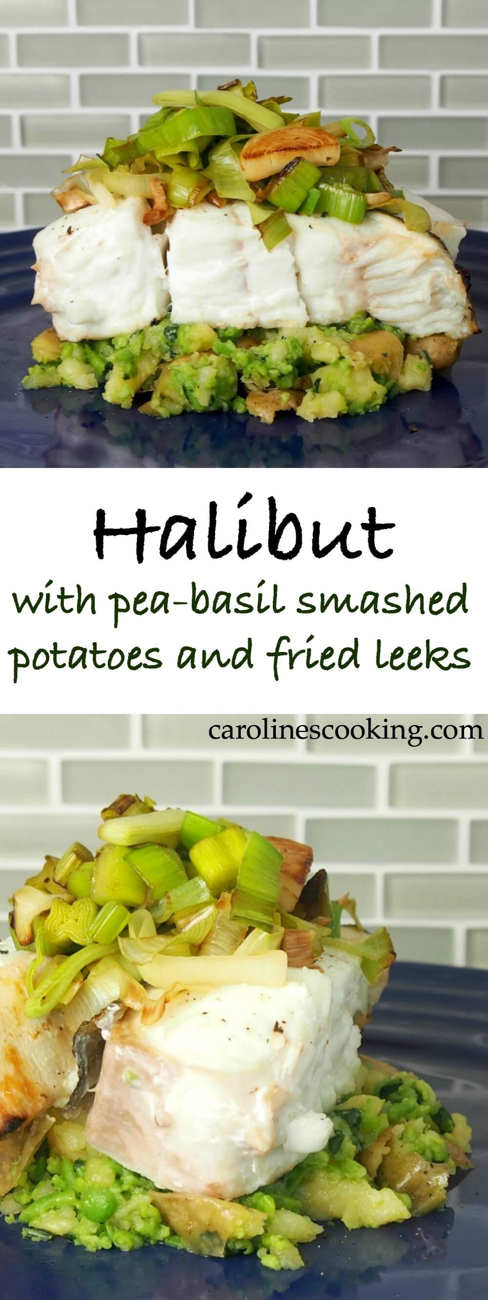 Halibut served with pea-basil smashed potatoes and fried leeks is like a restaurant-style meal but it's easy enough to make at home. Lots of complimentary flavors, fresh and delicious.