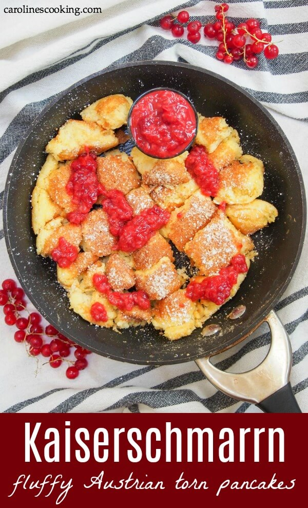 Kaiserschmarrn is a traditional torn-up pancake from Austria. Thick, fluffy, comforting chunks are dusted with sugar and served with fruit compote (which is easy to make too!). Perfect for dessert, brunch or whenever you find an excuse. #Austrianfood #pancake #brunch #dessert
