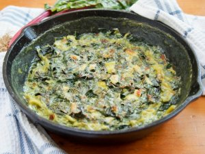 Leek and Swiss chard gratin