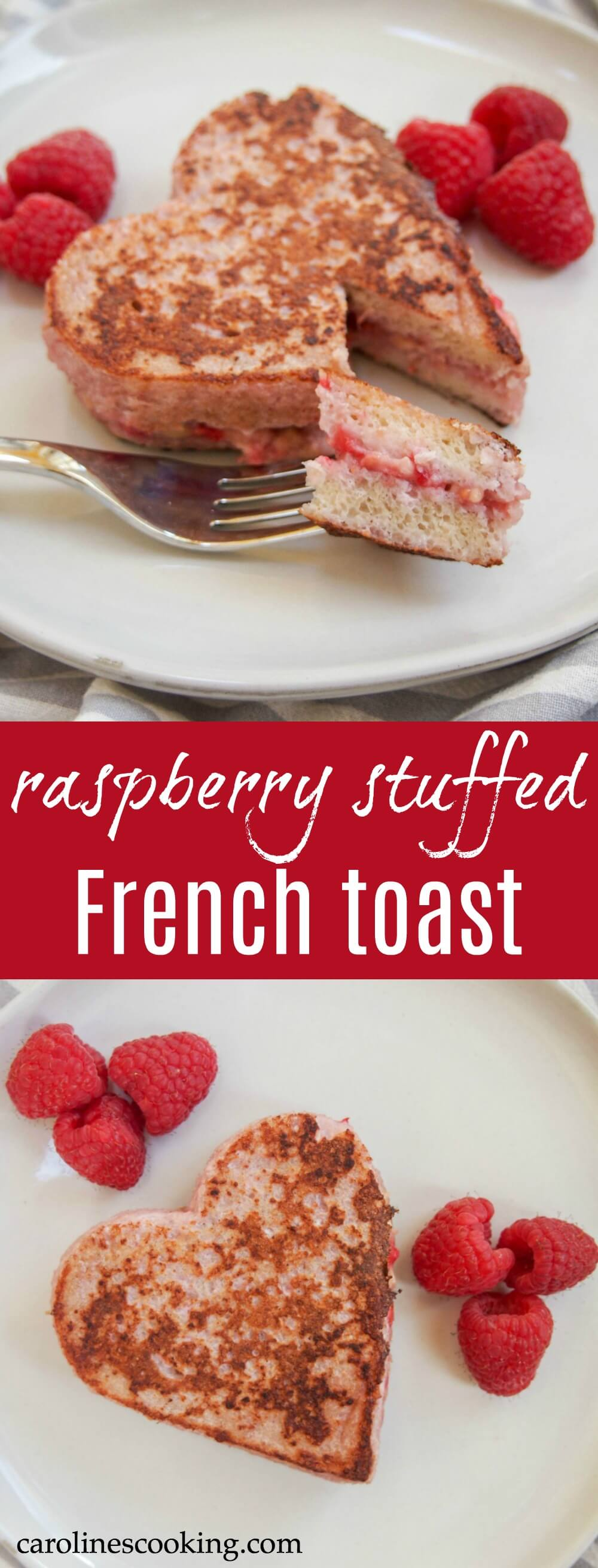 Why not treat someone to a fun and delicious raspberry stuffed French toast for breakfast? Easy to make, the banana raspberry filling takes French toast up a level, while still being relatively healthy. #frenchtoast #breakfast #valentinesday #raspberry