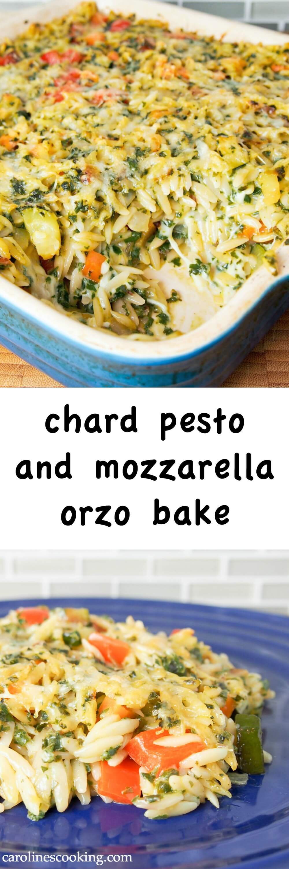 This tasty chard pesto and mozzarella orzo bake has all the comfort factor you would want in colder weather with that bit of spring freshness. It has plenty of gooey cheese, but lots of healthy veg as well. Perfect for any occasion. #chard #pasta #pastabake #vegetarian