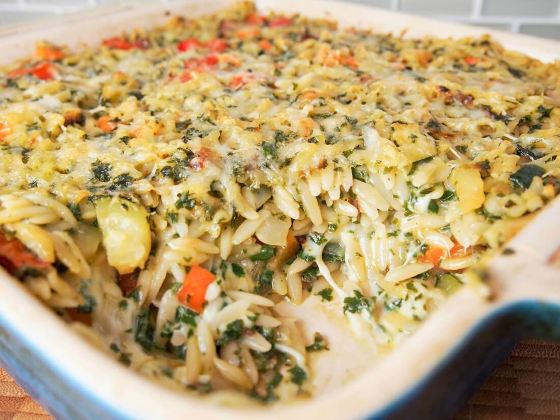 chard pesto and mozzarella orzo bake