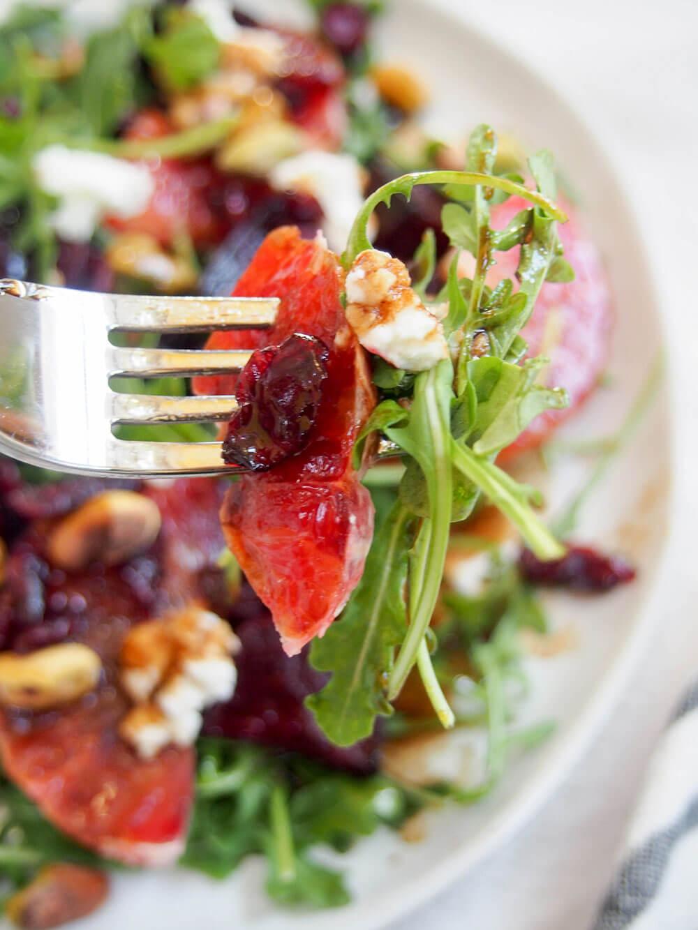 forkful of Beet and blood orange salad