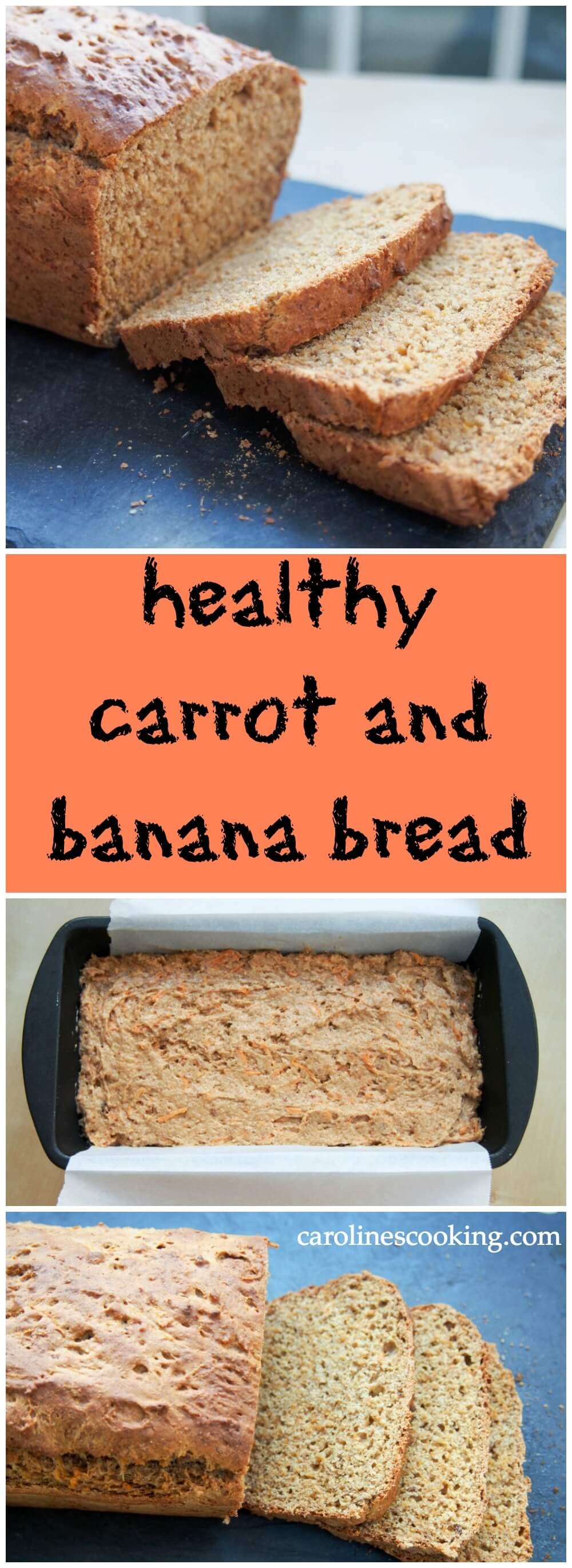Easy to make, with no added sugar & lots of delicious ingredients, this carrot and banana bread is healthy & the best of carrot cake & banana bread in one.