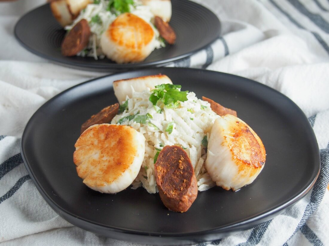 pan seared scallops with celeriac remoulade and chorizo