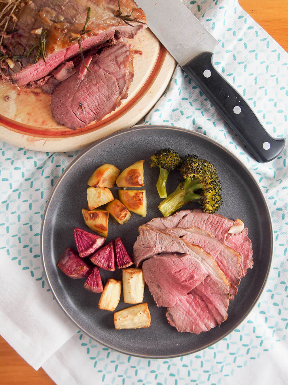 roast lamb served with roasted vegetables