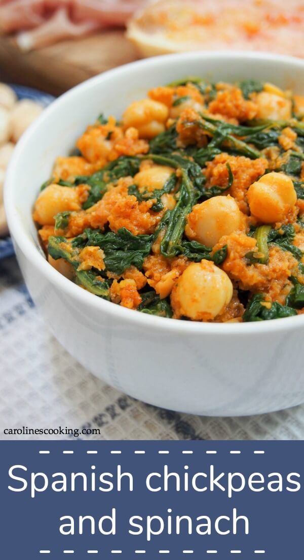 This Spanish chickpeas and spinach is a classic tapas dish that's easy to make and wonderfully versatile. Simple, hearty vegan comfort food. #tapas #chickpeas #vegan