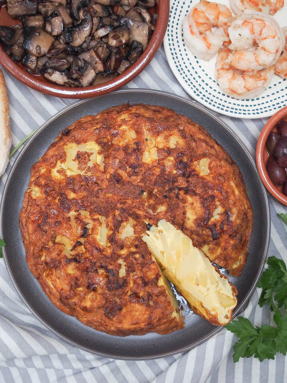 Spanish tortilla, tortilla Española from above as part of a tapas meal