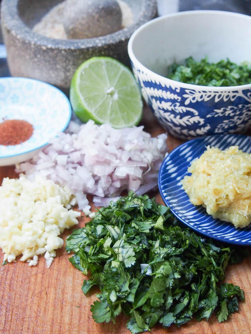 Larp (larb gai, Thai/Laos chicken salad) ingredients