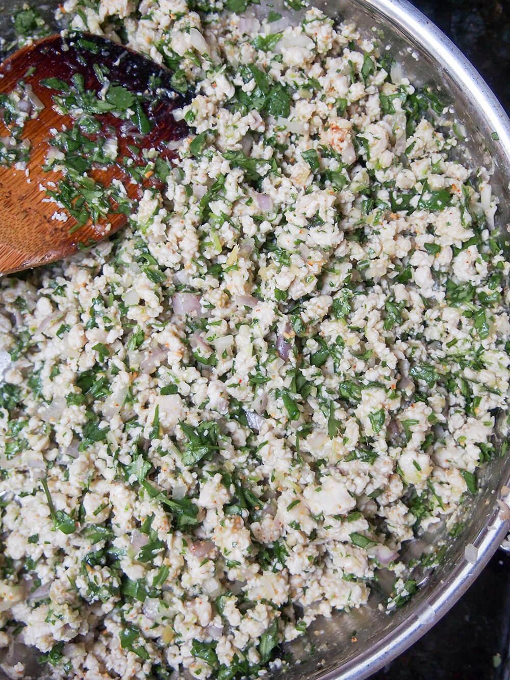 Larp (larb gai, Thai/Laos chicken salad) in skillet