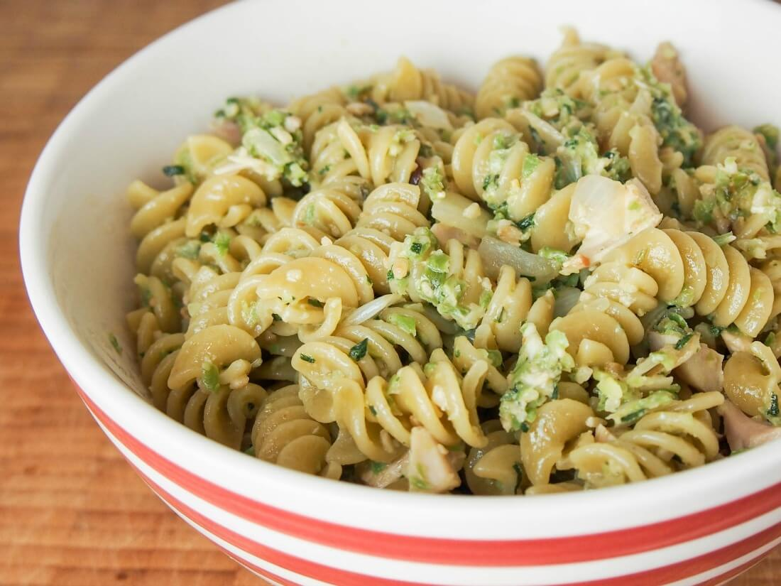 green bean and oregano pesto mixed through pasta