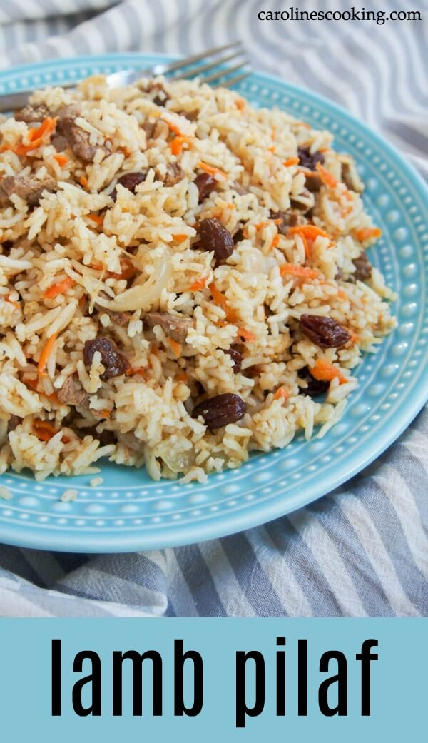 This delicious lamb pilaf, based on the traditional Afghan/Uzbek dish, is an easy, one pot meal but packed with flavor. Great for leftover roast lamb. #lambpilaf #leftoverlamb #lambandrice