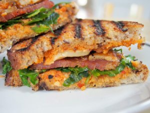 romesco and bacon grilled cheese