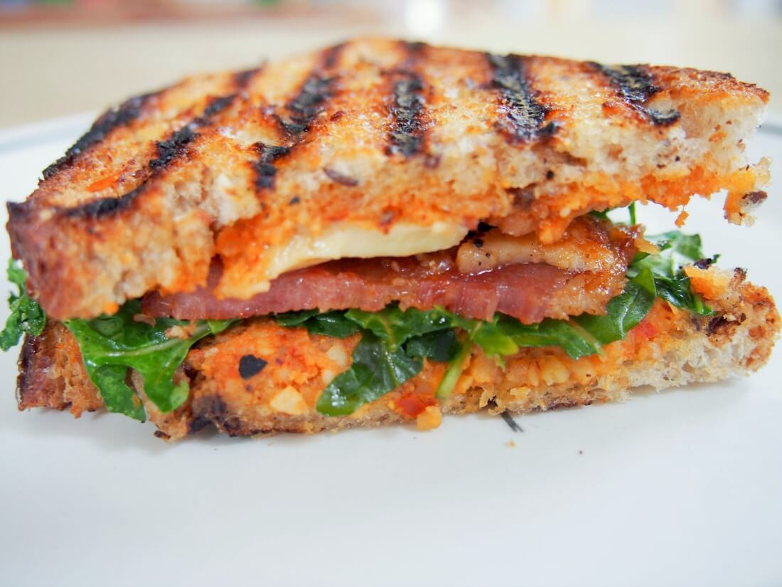 romesco and bacon grilled cheese sandwich