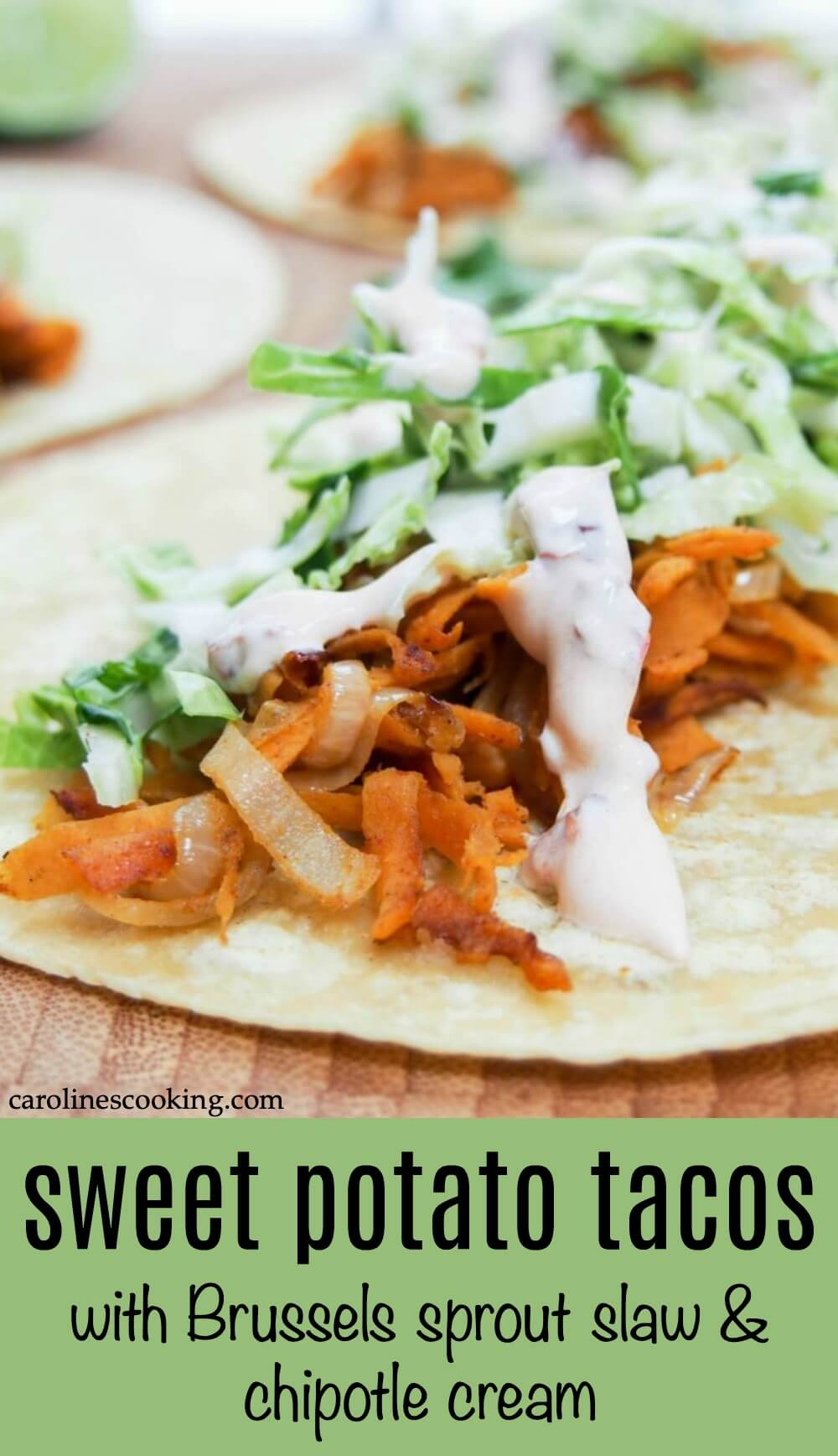 These sweet potato tacos are easy to make & thoroughly delicious. Gently spiced sweet potato, a crunchy, zesty slaw & a kick from chipotle cream. Vegetarian #taco #vegetarian #sweetpotato