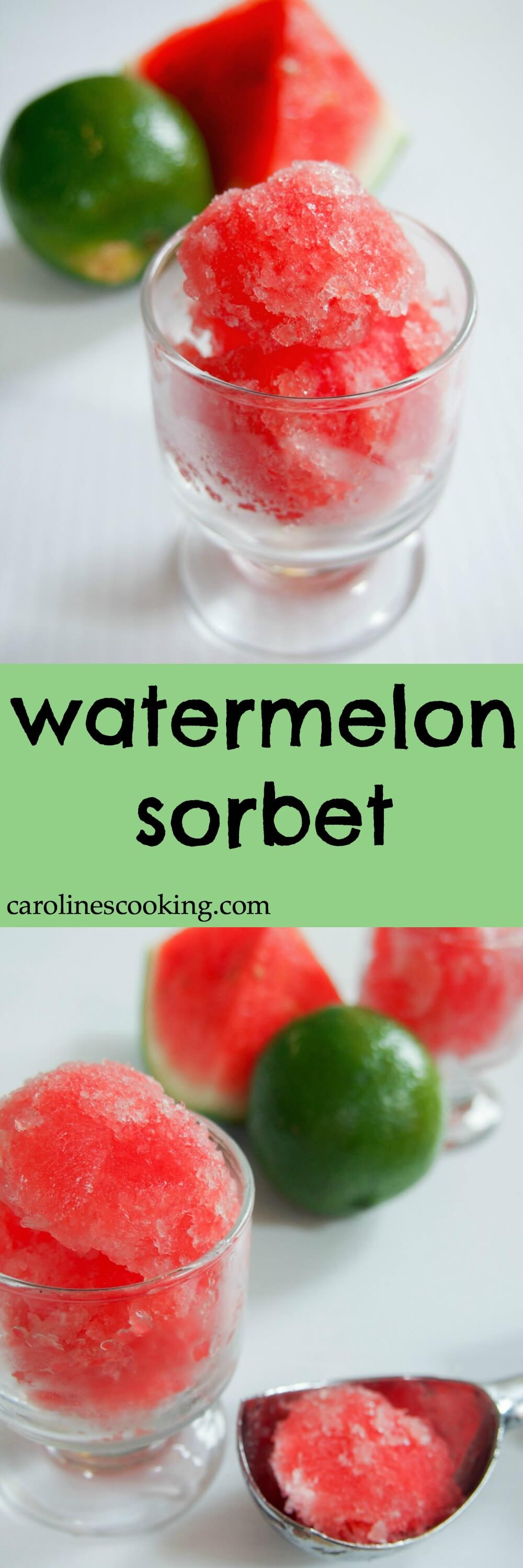 This watermelon sorbet is a refreshing and delicious frozen treat. Perfect for your Cinco de Mayo celebration or any excuse to enjoy. As a bonus, it's really easy to make!