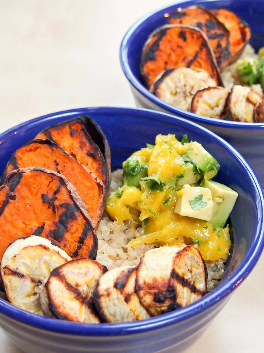 Cuban quinoa bowl with grilled sweet potato and plantain and avocado-mango salsa - a delicious vegetarian, vegan gluten free summery meal