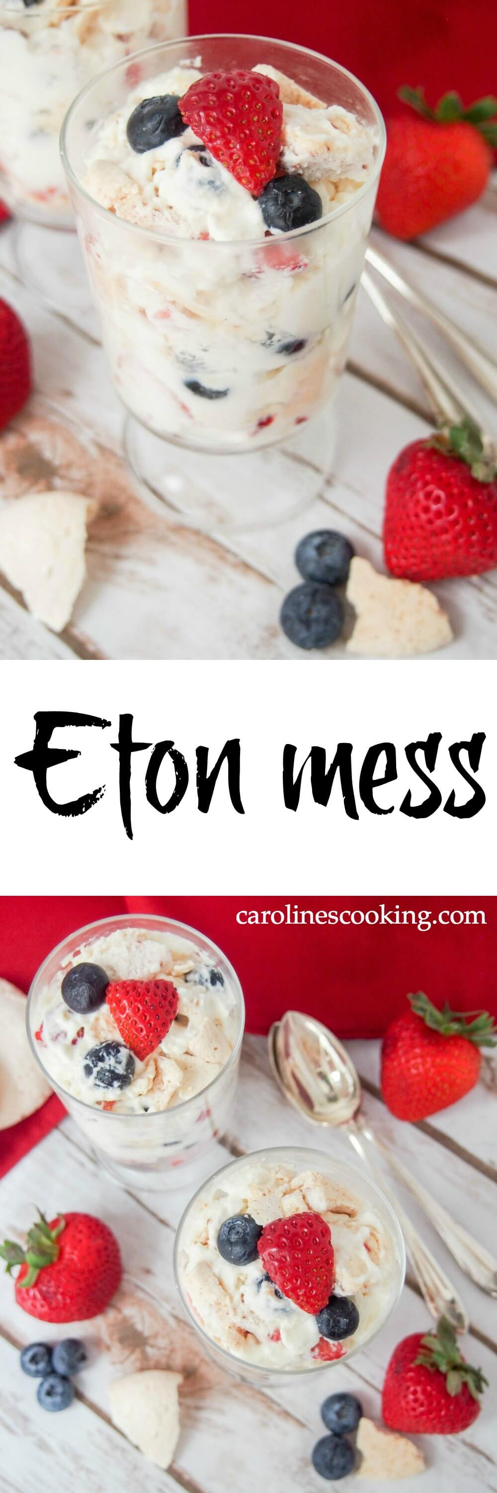 Eton mess is a classic British dessert that is incredibly easy to prepare - simply fruit, cream and meringue mixed together - but the result is so delicious. It's perfect for a spring/summer party, and quick enough to put together any night of the week for an easy treat. And conveniently red, white and blue as well! #memorialday #dessert #redwhiteandblue #meringue #cream #easydessert