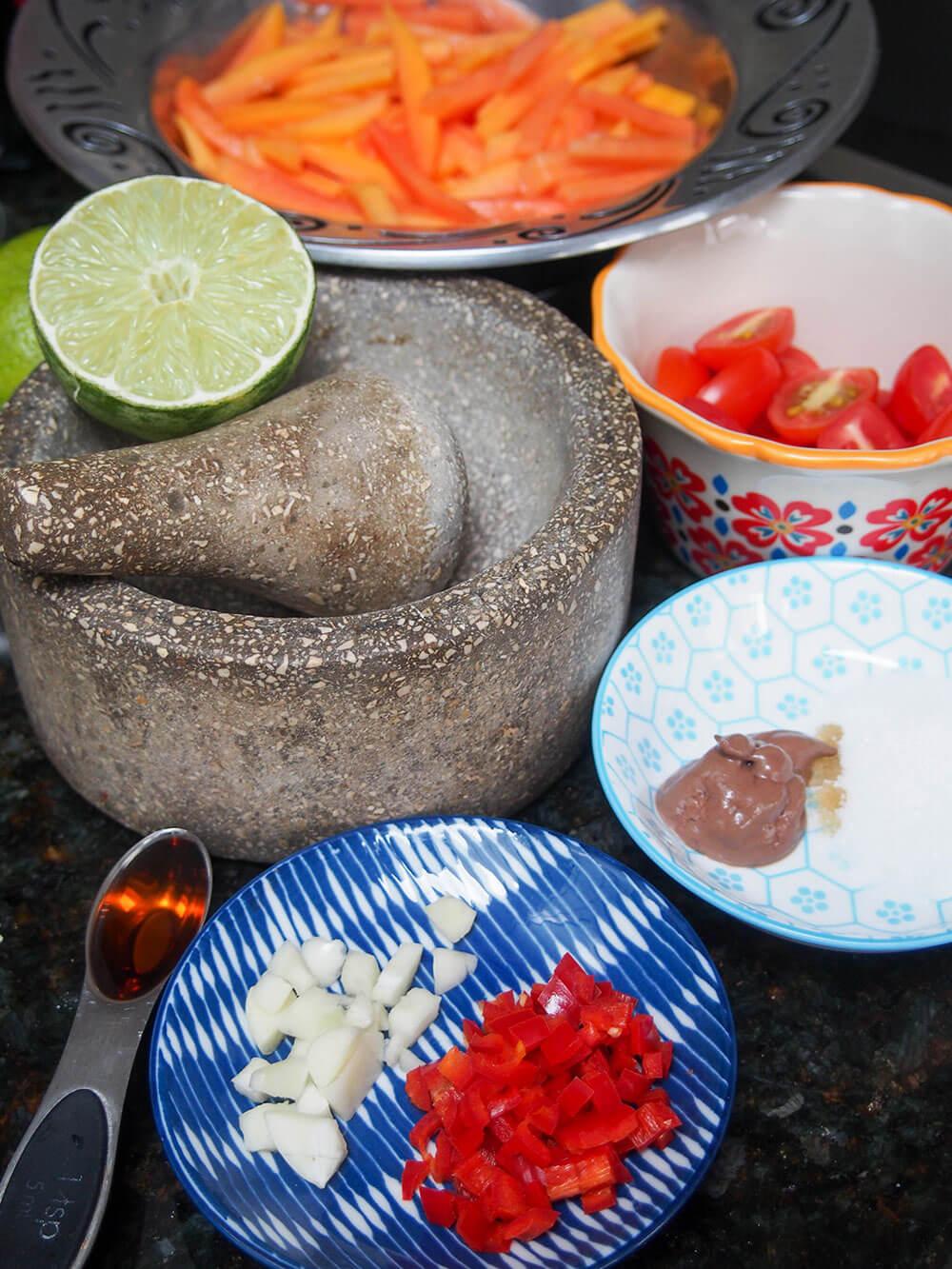ingredients for Green papaya salad