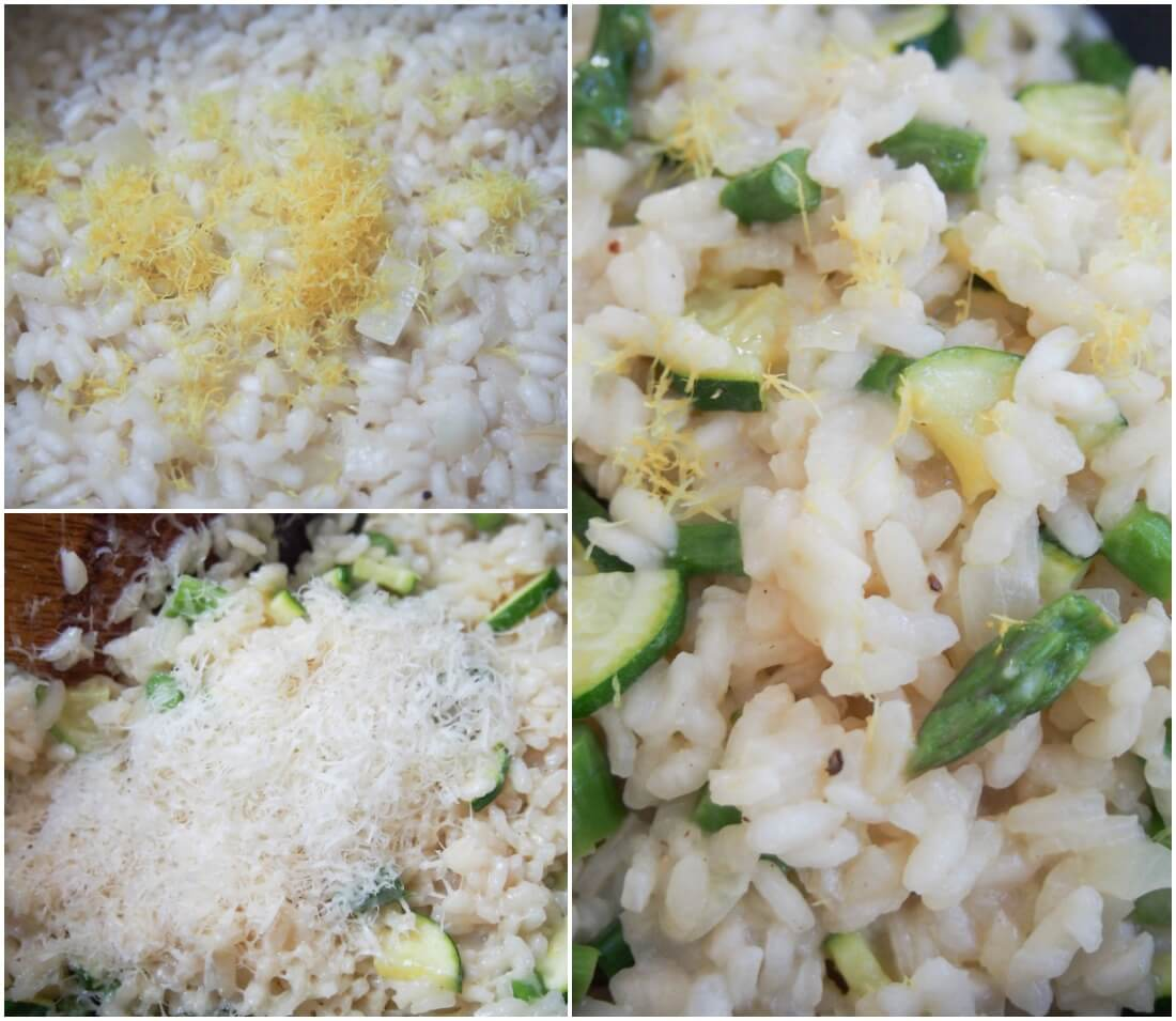 making lemon risotto with asparagus and zucchini
