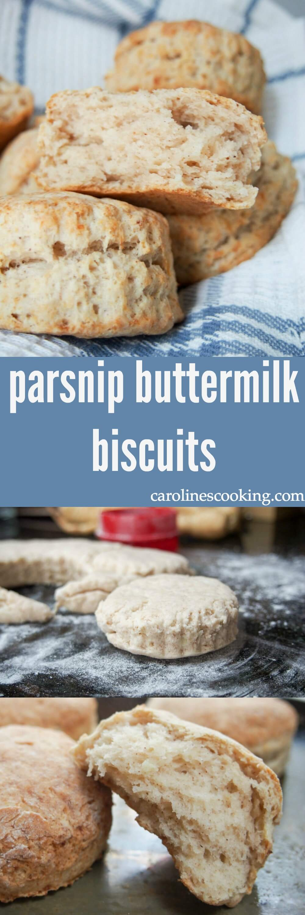 These parsnip buttermilk biscuits are a twist on the more traditional versions. Slightly sweet and fluffy, they go perfectly with Southern food (or just snack on them!).