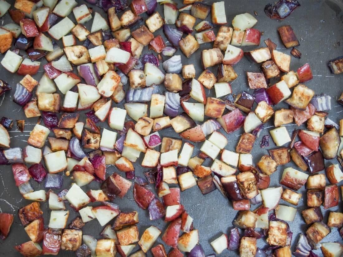 roasted veg for Greek-ish vegetable empanadas