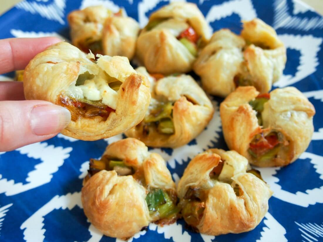 Leek and goats cheese puff pastry appetizers - Caroline's ...