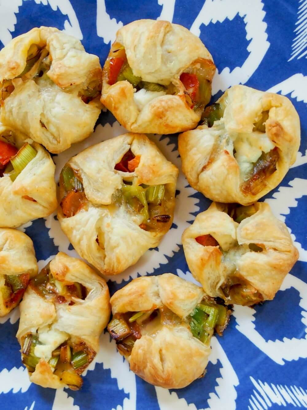 Leek and goats cheese puff pastry appetizers