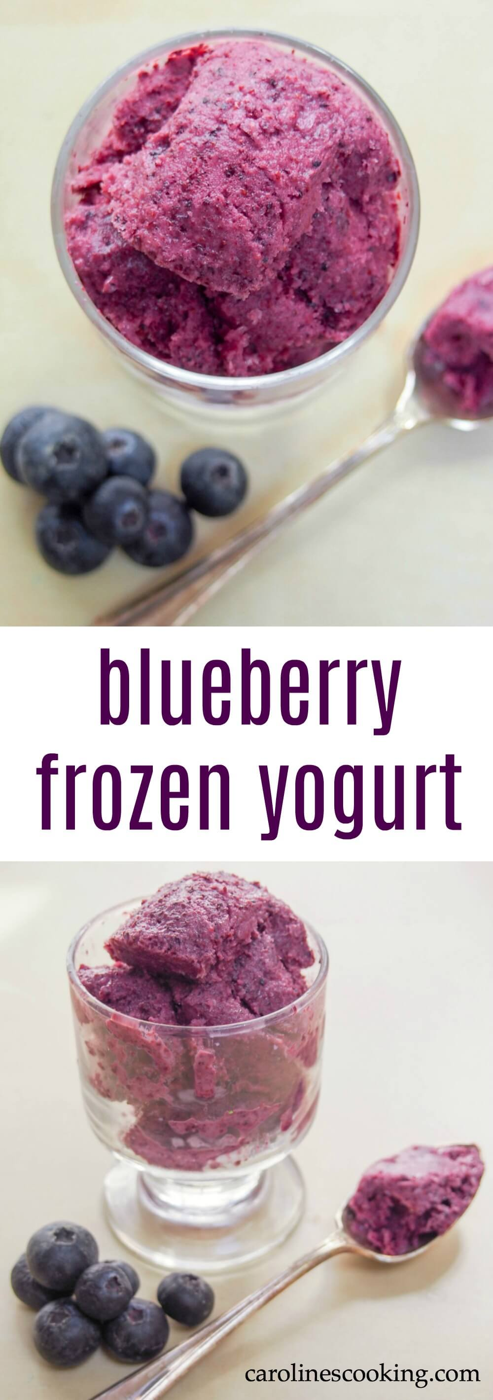 This blueberry frozen yogurt is easy to make and surprisingly good for you. It's not overly sweet but thoroughly delicious and perfect for a summer's day.
