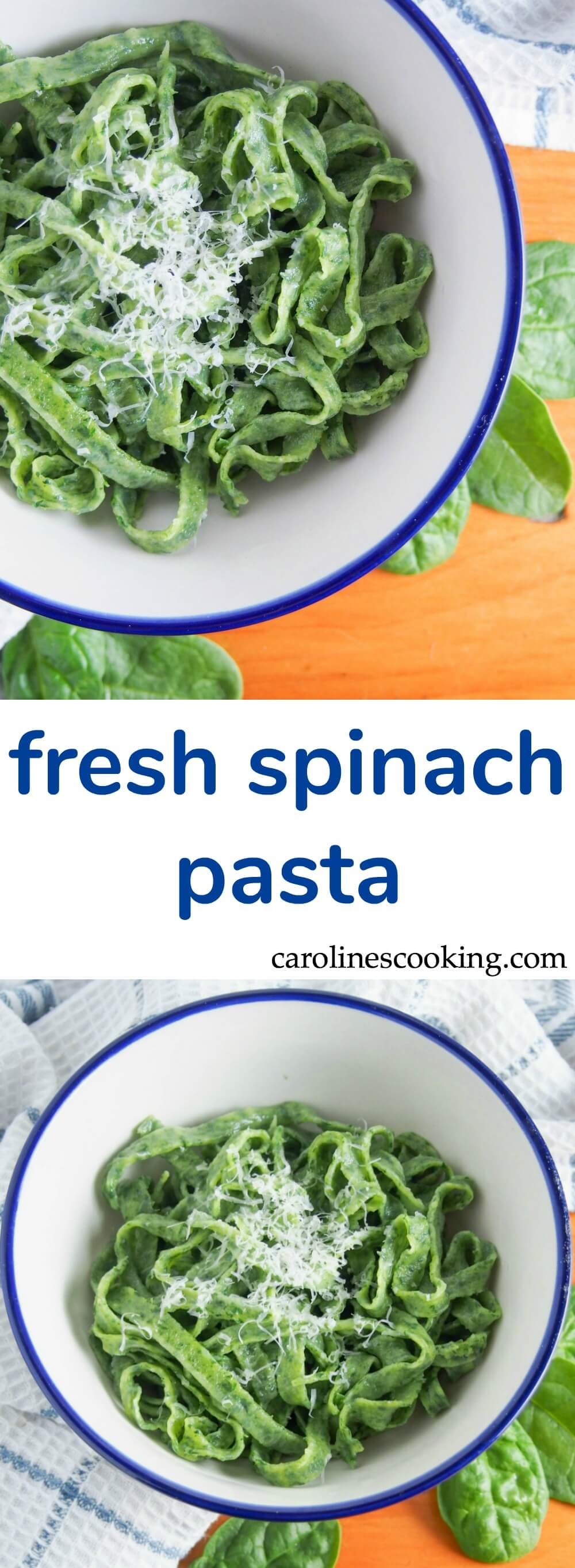 Fresh spinach pasta is easier than you might think and the result is so delicious. Try with a simple sauce/browned butter for a delicious meal.